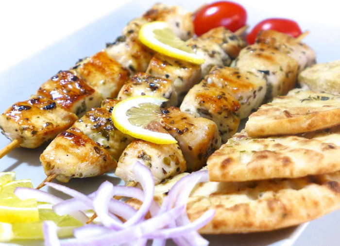 Healthy Party Food - Grilled Chicken Souvlaki and Tzatziki Sauce