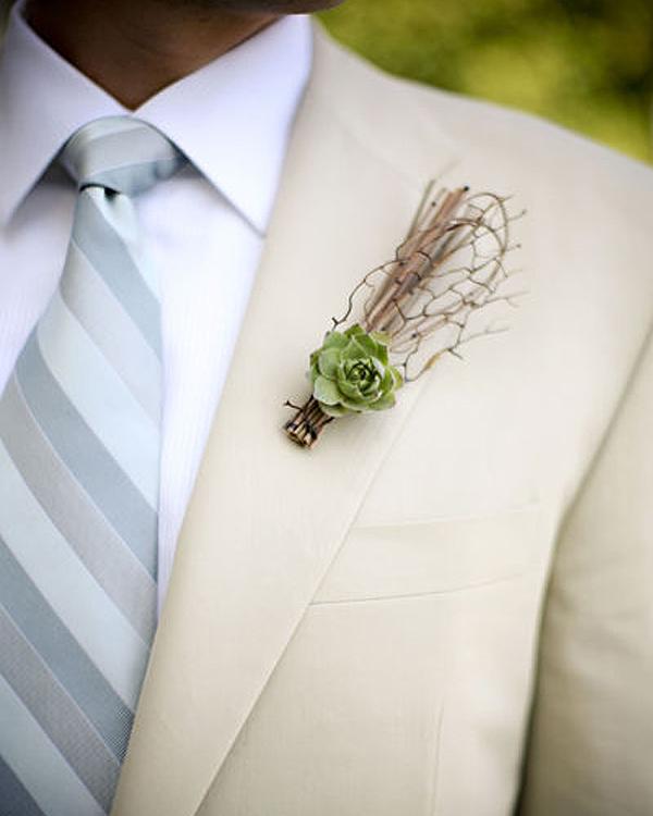 Unique Wedding Boutonnieres - Minimal Succulent Boutonniere