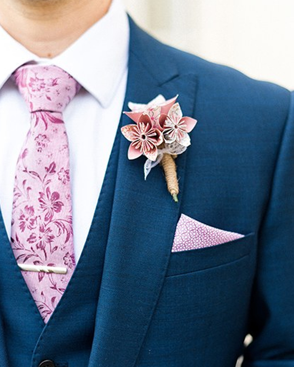 Unique Wedding Boutonnieres - Paper Floral Boutonniere