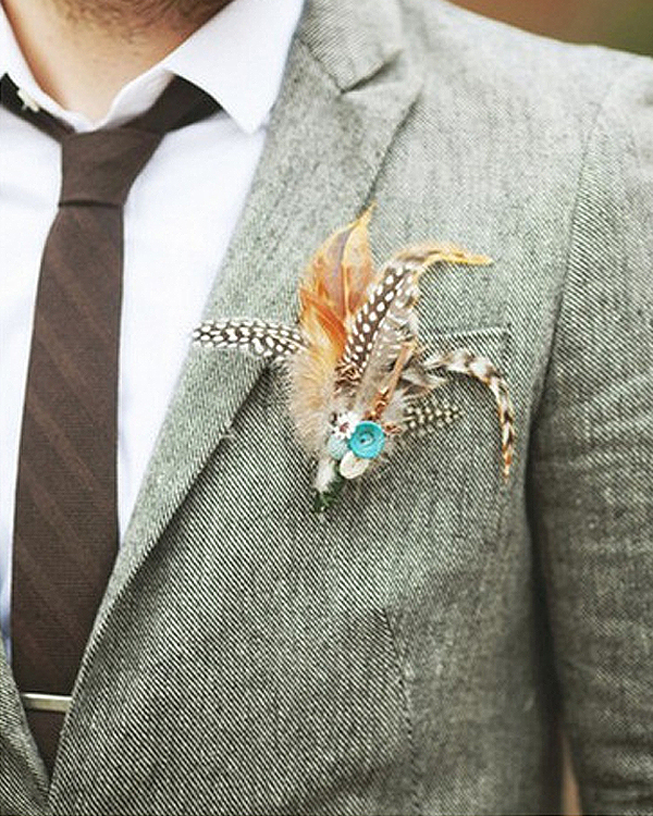 Unique Wedding Boutonnieres - Autumn Feather Boutonniere