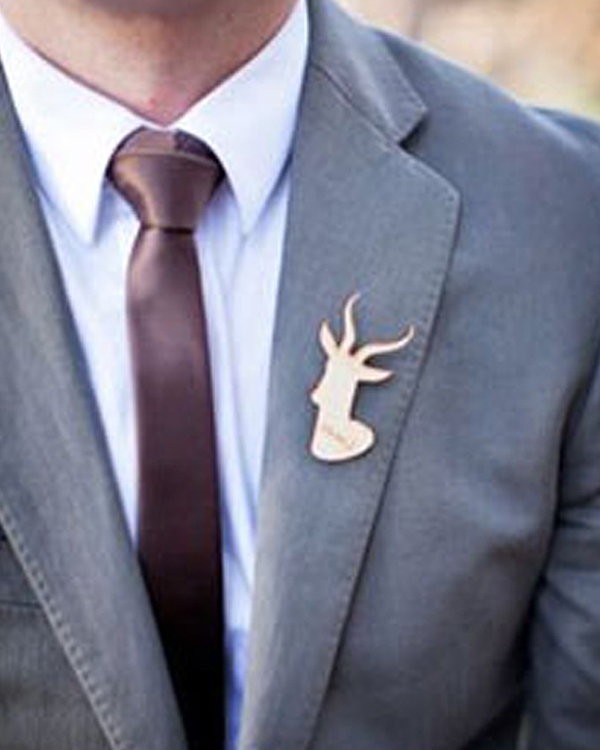 Unique Wedding Boutonnieres - Deer Head Boutonniere