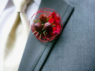 Unique Wedding Boutonnieres - Red Circular Boutonniere