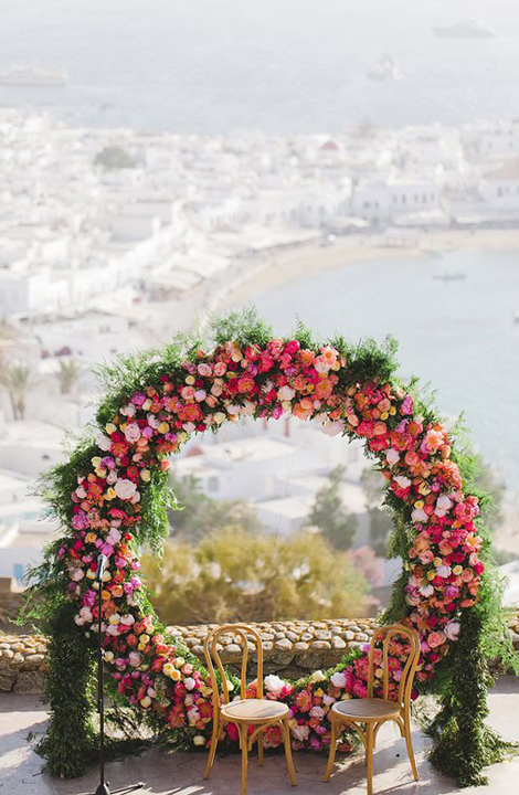 Living Coral Wedding Ideas - Floral Wreath Backdrop