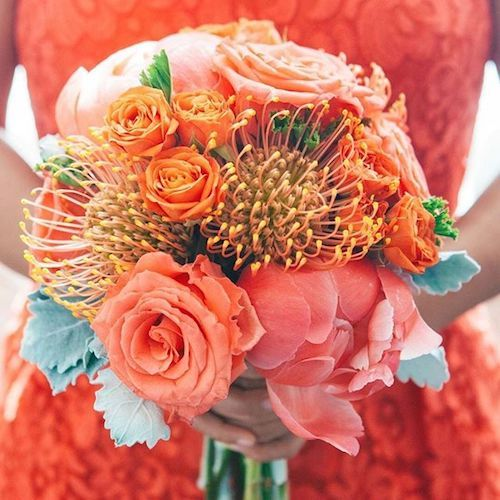Living Coral Wedding Ideas - Living Coral Beach Bouquet