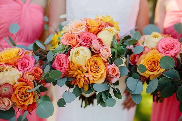 Living Coral Wedding Ideas - Three Living Coral Bouquets