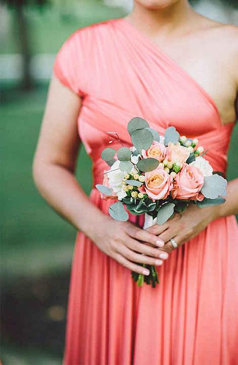 Living Coral Wedding Ideas - Coral Bridesmaid Dress With Bouquet