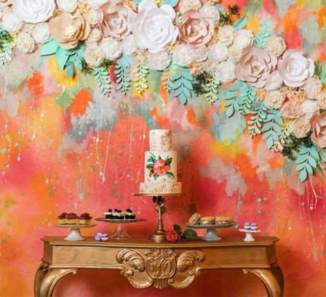 Living Coral Wedding Ideas - Coral Colored Wall