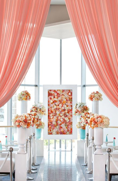 Living Coral Wedding Ideas - Living Coral Curtains at Altar