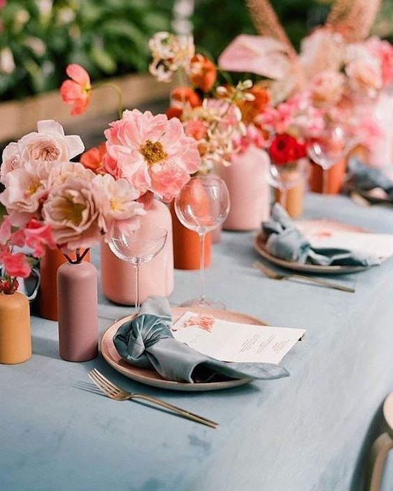 Living Coral Wedding Ideas - Coral Accents On Table