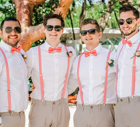 Living Coral Wedding Ideas - Groomsmen Wearing Living Coral Suspenders and Bow Ties