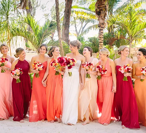 Living Coral Wedding Ideas - Bridesmaids Wearing Hombre Living Coral Dresses