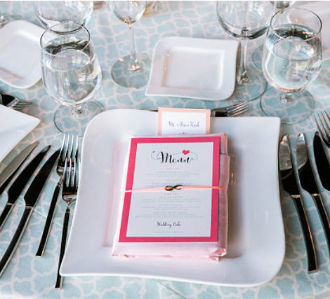 Living Coral Wedding Ideas - Pink Framed Wedding Menu