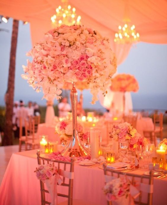 Living Coral Wedding Ideas - Evening Wedding Table Setup