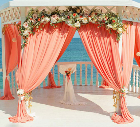 Living Coral Wedding Ideas - Living Coral Outdoor Curtains For Wedding Ceremony