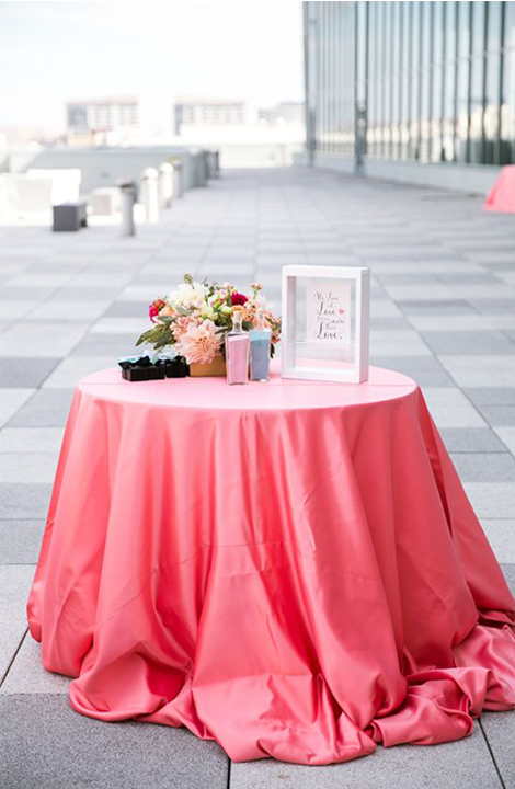 Living Coral Wedding Ideas - Pink Tablecloth