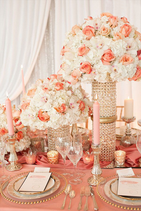 Living Coral Wedding Ideas - Living Coral Wedding Tableware