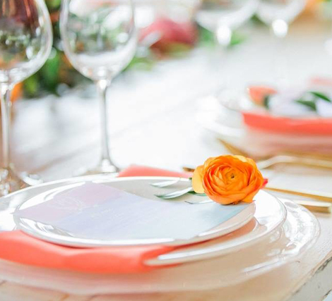 Living Coral Wedding Ideas - Fresh Flower on Plate