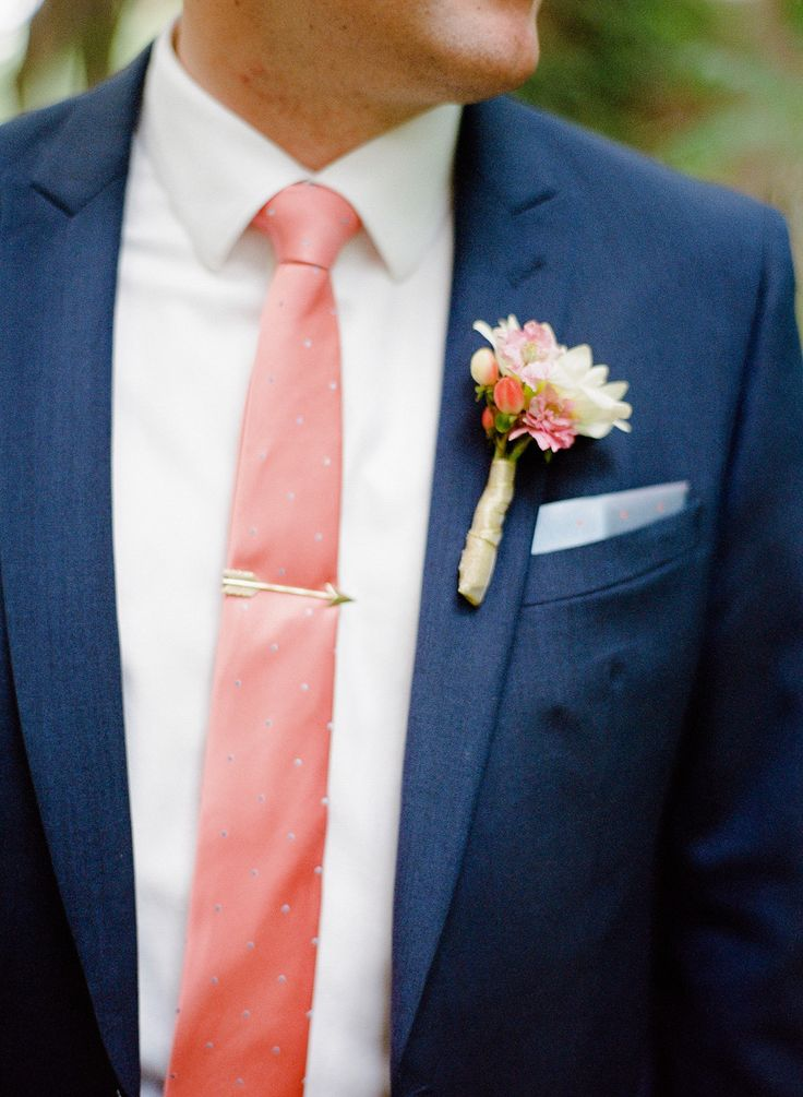 Living Coral Wedding Ideas - Living Coral Tie with Navy Suit