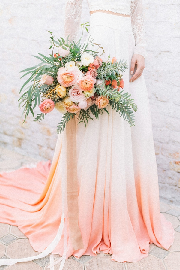 Living Coral Wedding Ideas - Wedding Dress with Coral Ombre