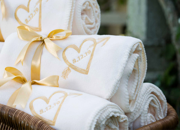 White Winter Wedding Favors Blankets With Wedding Date