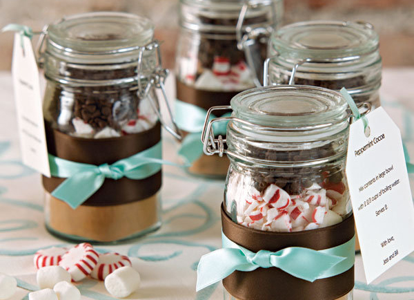 Winter Wedding Favors - Hot Chocolate Ingredients In Mason Jars