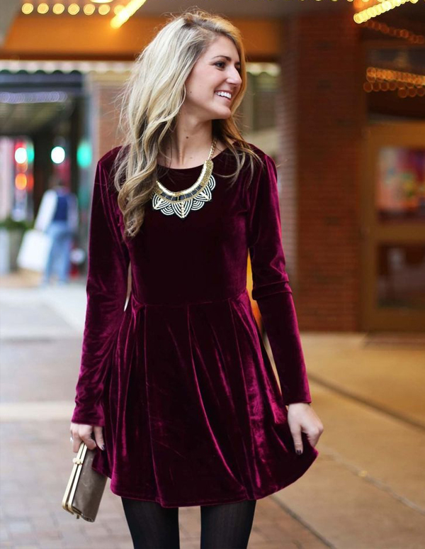 Winter Wedding Guest Attire - Blonde Woman In Red Velvet Dress