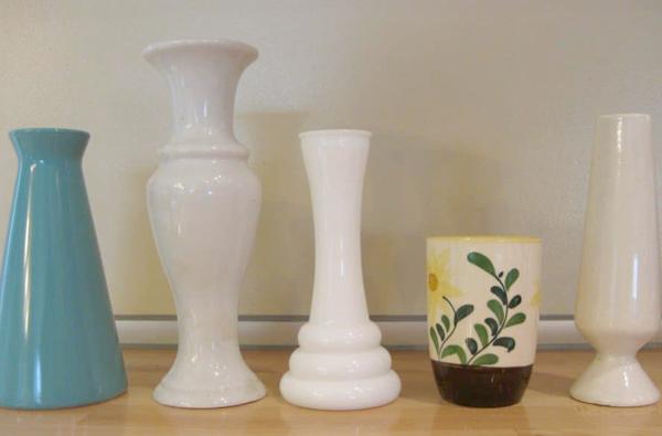 Thrift Store Wedding Decor - Various Glass Flower Vases